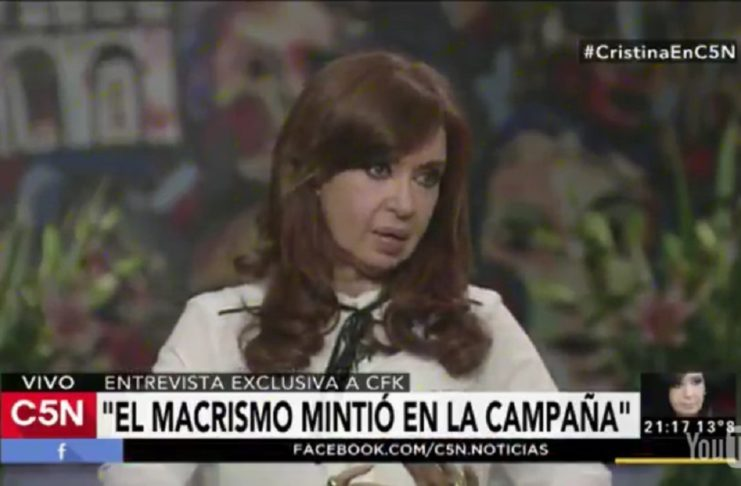 """Cristina en C5N: """"Parte del pueblo argentino está desamparado"""""""
