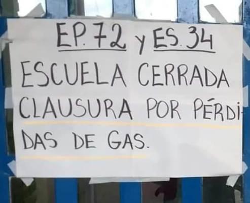 Por problemas de gas e infraestructura, catorce escuelas de Almirante Brown están sin clases